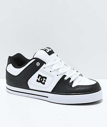 DC Pure Black & White Skate Shoes