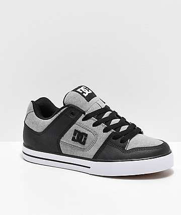 DC Pure SE Heather Grey, Black & White Skate Shoes
