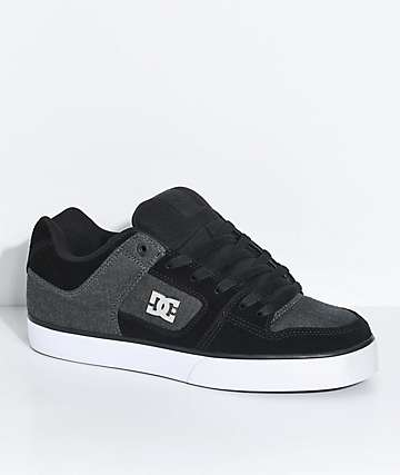 DC Pure SE zapatos de skate de textil y ante negro y gris