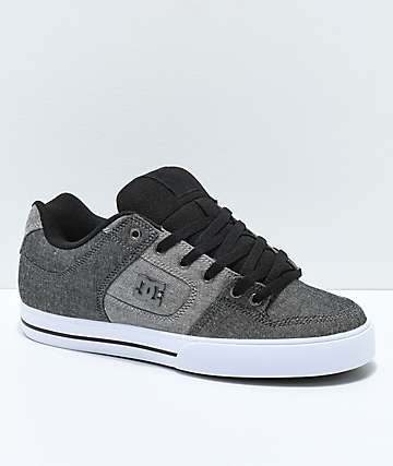 DC Pure TX SE Black, Battleship Grey & White Skate Shoes