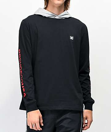 DC Rellin Black & Grey Knit Hooded Long Sleeve T-Shirt