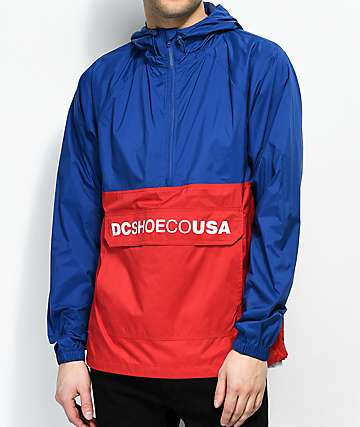 DC Sedgefield Half Zip Red & Navy Anorak Jacket