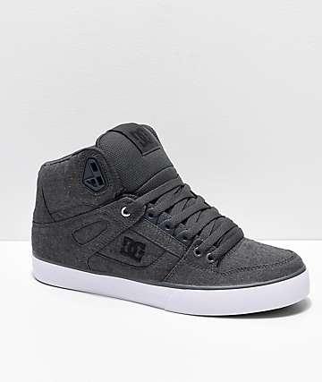 DC Spartan Hi TX SE Grey, Grey & White Canvas High Top Skate Shoes