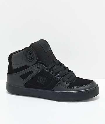 DC Spartan Hi WC All Black zapatos de skate negros