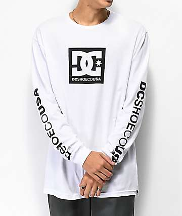 DC Square Star White Long Sleeve T-Shirt