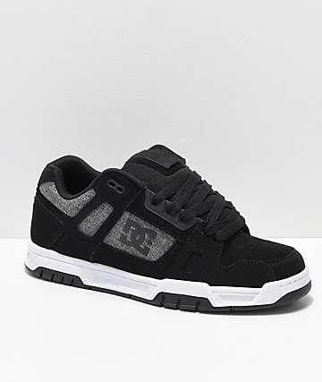 DC Stag zapatos de skate en negro, blanco, gris, tweed y nubuck