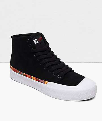 DC T-Funk Hi S Black & White Skate Shoes