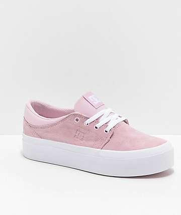 DC Trase SE Pink & White Platform Skate Shoes