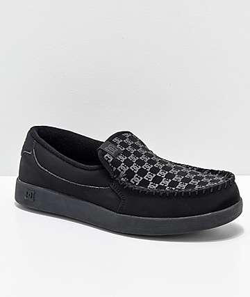 DC Villain Print Slip-On zapatos negros