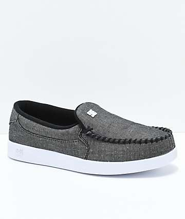 DC Villain TX Faded Black & White Slip-On Shoes