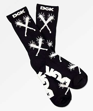 DGK Batter Up Black Crew Socks