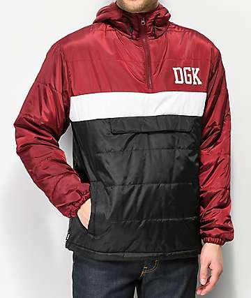 DGK Blocked Burgundy Anorak Puffer Jacket