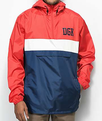 DGK Blocked Red, White & Blue Windbreaker Anorak Jacket
