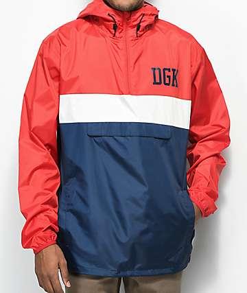 DGK Blocked chaqueta anorak contravientos en rojo, blanco y azul