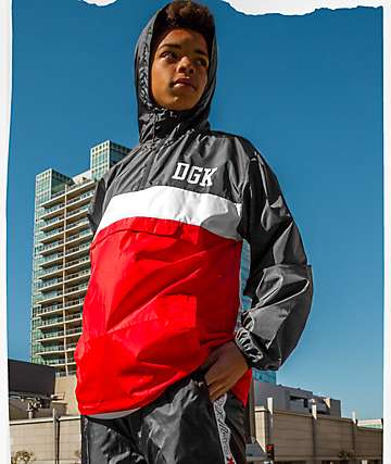 DGK Blocked chaqueta cortavientos en rojo y negro