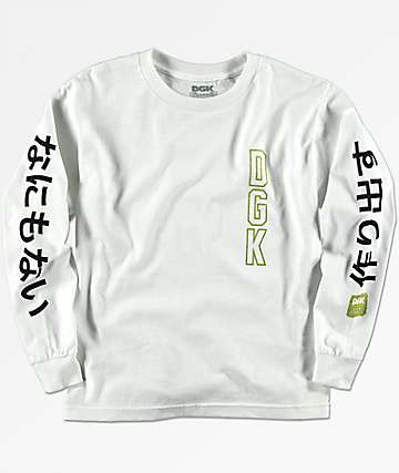 DGK Boys Kanji White Long Sleeve T-Shirt