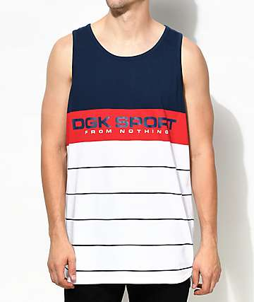 DGK Channel Sport Blue, Red & White Tank Top