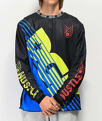 DGK Custom Team Black & Neon Green Long Sleeve Moto Jersey