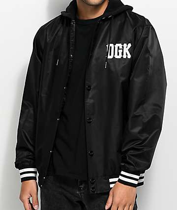 DGK Double Play Black Hooded Bomber Jacket