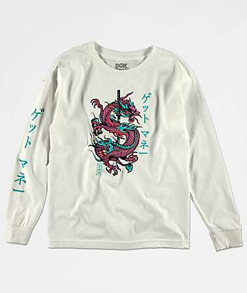 DGK Get Money Dragon camiseta blanca de manga larga para niños