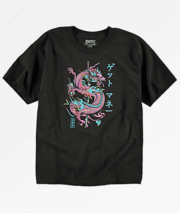 DGK Get Money Dragon camiseta negra para niños