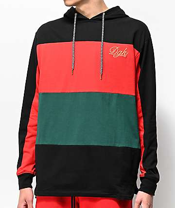 DGK Grand Black, Red & Green Hooded Long Sleeve T-Shirt