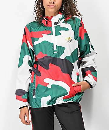 DGK Green, Red, White & Black Camo Anorak Jacket