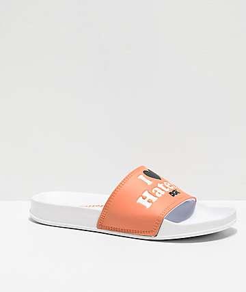 DGK Haters White & Peach Slide Sandals
