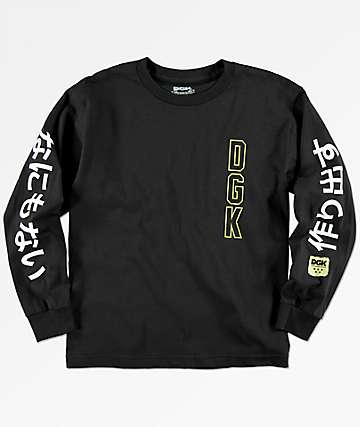 DGK Kanji camiseta negra de manga larga para niños