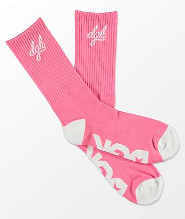 DGK Loud Pink & White Crew Socks