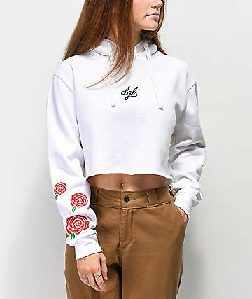 DGK Rose Bush White Crop Hoodie