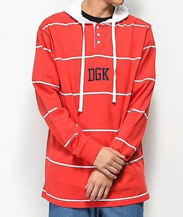 DGK Thin Line Red & White Hooded Long Sleeve Shirt