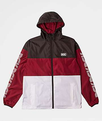 DGK Triple Black, Burgundy and White Windbreaker Jacket