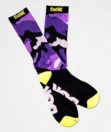 DGK calcetines de camuflaje morado y amarillos