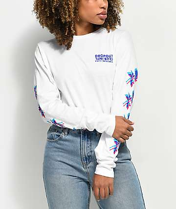 DROPOUT CLUB INTL. Earth To Monica White Long Sleeve T-Shirt