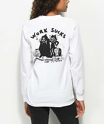 DROPOUT CLUB INTL. Heavy Slime Work Sucks Long Sleeve White T-Shirt