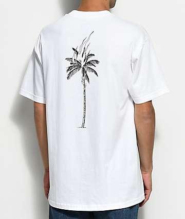 DROPOUT CLUB INTL. Palm Flame Nathan Kostechko White T-Shirt