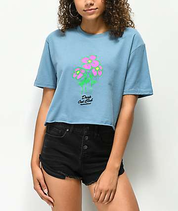 DROPOUT CLUB INTL. Spiegel Garden Blue Crop T-Shirt