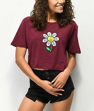 DROPOUT CLUB INTL. Spiegel Not Burgundy Crop T-Shirt
