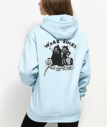 DROPOUT CLUB INTL. Work Sucks Light Blue Hoodie