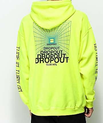 DROPOUT CLUB INTL. Zorched Frozen sudadera con capucha en verde neón