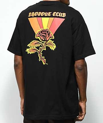 DROPOUT CLUB INTL. x Boss Dog Rose camiseta negra