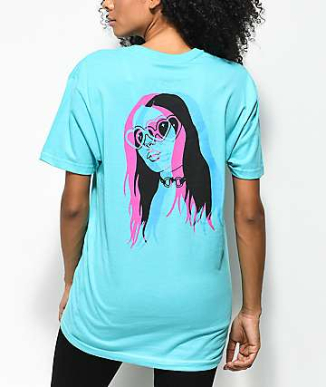 DROPOUT CLUB INTL. x Earth To Monica 3D Heart Eyes camiseta en verde azulado