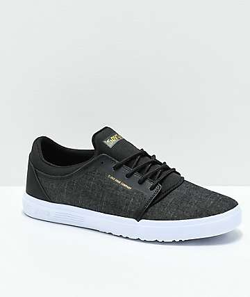 DVS Stratos LT Black Chambray Skate Shoes