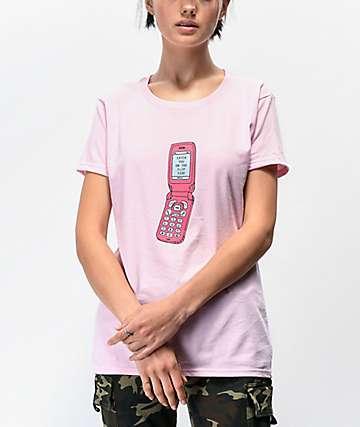 Daisy Street Boyfriend Flip Phone Pink T-Shirt