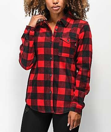 Dakine Devon camiseta de franela de polar negro y rojo