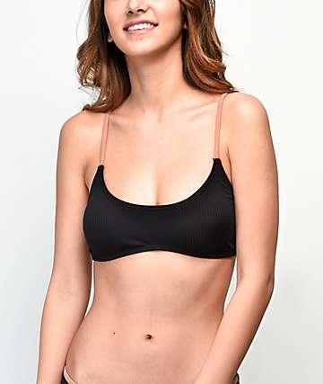 Damsel Black & Putty Flat Ribbed Bralette Bikini Top