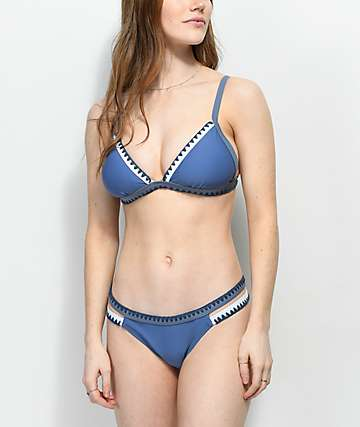 Damsel Blanket Stitch braguitas de bikini brasileñas en azul