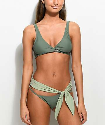 Damsel Bow bottom de bikini cheeky en verde militar