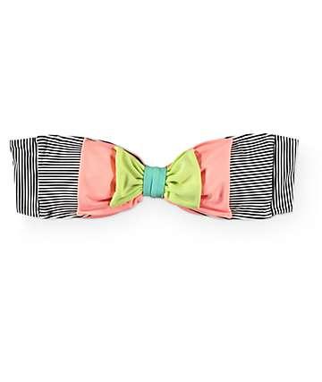 Damsel Double Bow Mini Stripe Bandeau Bikini Top